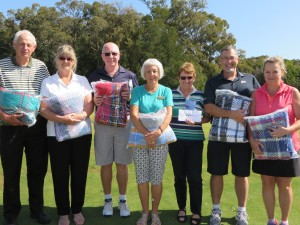 Placegetters in the Kit Boag Event:  (L-R) Ian Murchie and Karen Orford (Runners Up), Graeme Worster and marg Griffiths (third) Meryle Findlay (Winner, partner grant McRitchie absent), and Mel and Tolly Baharis (Garfield, fourth)